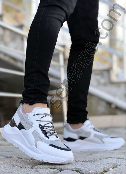 Beyaz Karışık Desen Erkek Spor Ayakkabı