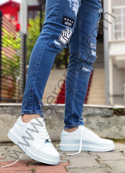 Beyaz Yüksek Taban Erkek Spor Ayakkabı