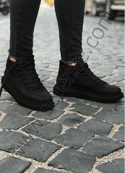 Bot model Yüksek Taban Siyah Erkek Ayakkabı-(Mat Siyah)(SÜET DEĞİLDİR)