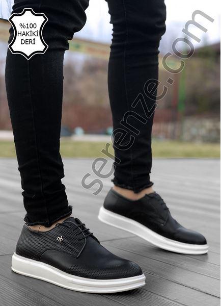 Delikli Model Hakiki Deri Siyah Klasik Ayakkabı
