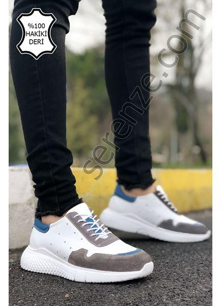 Beyaz Füme Delux Hakiki Deri Erkek Spor Ayakkabı