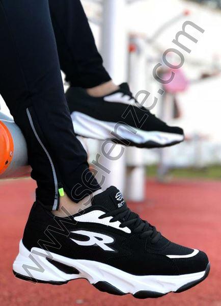 Beyaz Detay Siyah Erkek Spor Ayakkabı Riccon