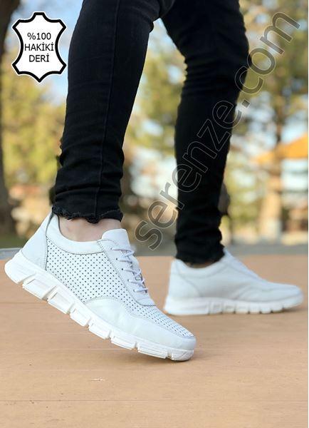 Beyaz Hakiki Deri Delikli Hafif Erkek Spor Ayakkabı