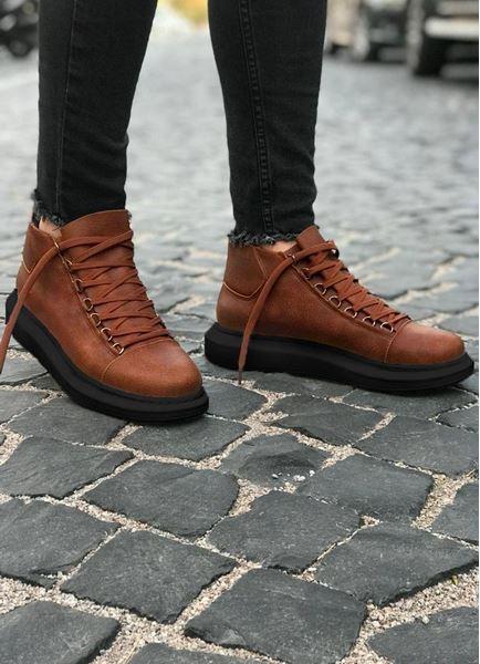 Bot model Yüksek Taban Taba Siyah Erkek Ayakkabı