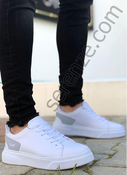 Beyaz Süet Detay Erkek Spor Ayakkabı