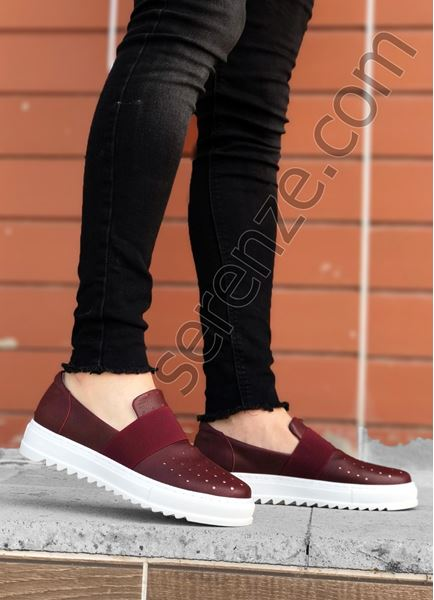 Bordo Bağcıksız Delikli Erkek Günlük Ayakkabı