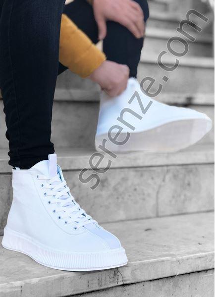 Beyaz Önü Fırfırlı Bot Model Erkek Spor Ayakkabı