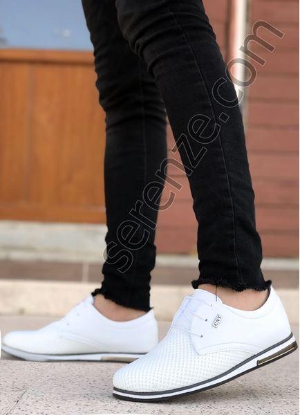 Beyaz Triko Erkek Klasik Ayakkabı