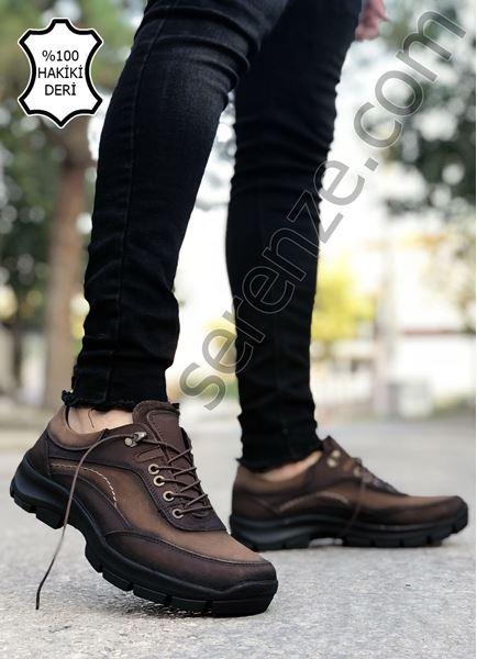 Kahve Bağcıklı Hakiki İç Dış Deri Erkek Trekking Ayakkabı