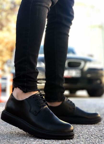 Klasik Model Deri Tarz Bağcıklı Siyah Erkek Ayakkabı