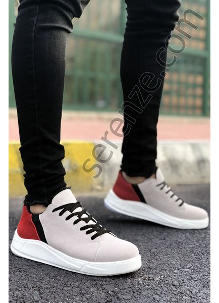 Gri Kırmızı Süet Yüksek Taban Erkek Spor Ayakkabı Ricc