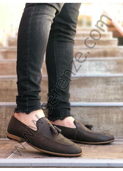 Kahve Desenli Erkek Klasik Ayakkabı