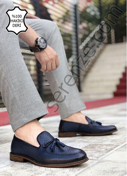 Lacivert Düğme Detay Hakiki Deri Erkek Klasik Ayakkabı