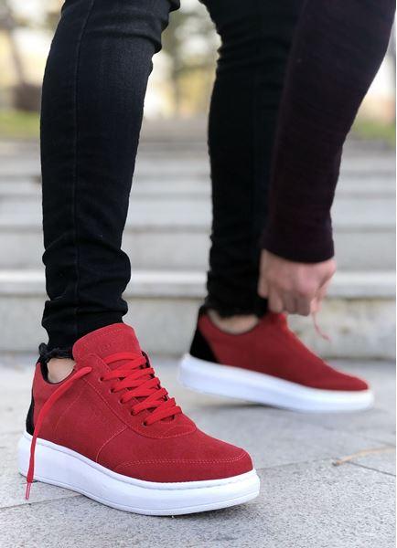 Kırmızı Süet Yüksek Taban Erkek Spor Ayakkabı Ricc