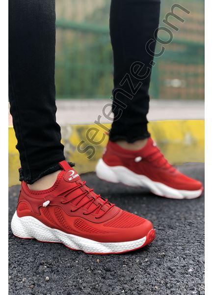 Kırmızı Grid Desen Fileli Erkek Spor Ayakkabı