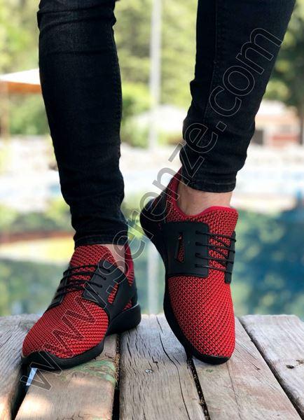 Kırmızı Siyah Triko Hafif Erkek Spor Ayakkabı