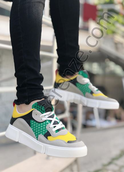 Sarı Yeşil Fileli Erkek Spor Ayakkabı