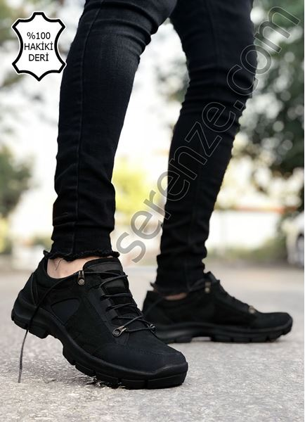 Siyah Bağcıklı Hakiki İç Dış Deri Erkek Trekking Ayakkabı