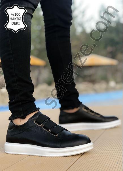 Siyah Beyaz Lastikli Hakiki Deri Erkek Günlük Ayakkabı