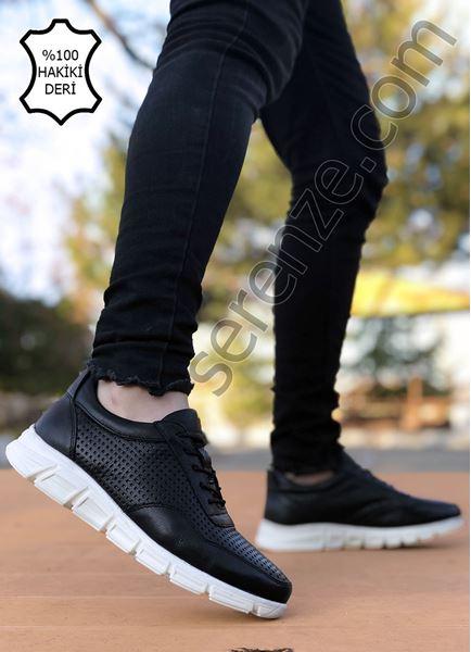 Siyah Beyaz Hakiki Deri Delikli Hafif Erkek Spor Ayakkabı