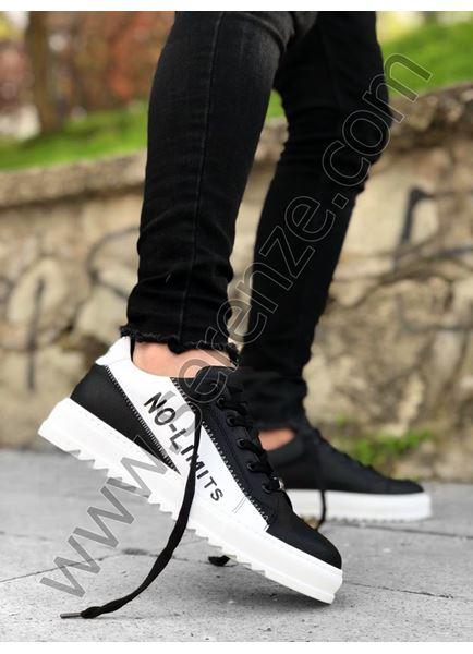 Siyah Beyaz Yazı Detay Beyaz Erkek Spor Ayakkabı