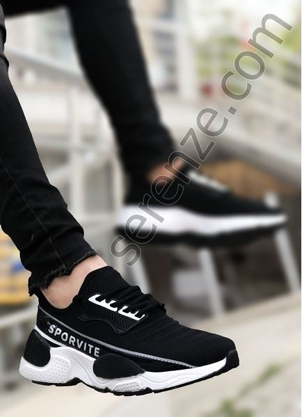 Siyah Beyaz Sportif Triko Erkek Spor Ayakkabı