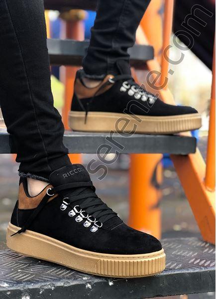 Siyah Nubuk Kancalı Erkek Trekking Ayakkabı