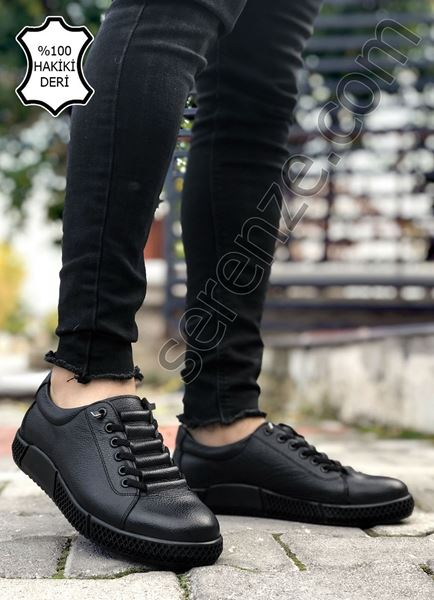 Siyah Hakiki Deri Lastikli Erkek Klasik Ayakkabı