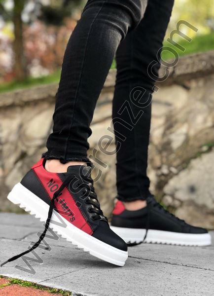 Siyah Kırmızı Yazı Detay Beyaz Erkek Spor Ayakkabı