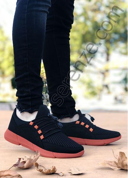 Siyah Oranj Triko Hafif Erkek Spor Ayakkabı