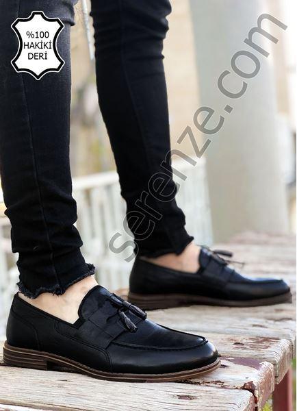 Siyah Hakiki Deri Bağcık Detay Erkek Klasik Ayakkabı