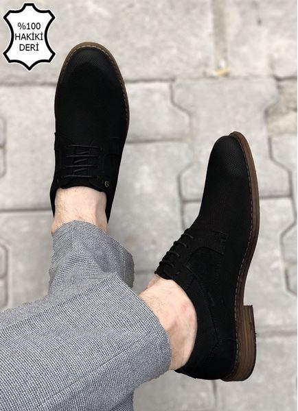 Siyah Hakiki Deri Desenli Erkek Klasik Ayakkabı