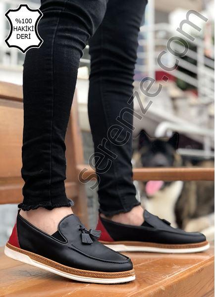 Siyah Hakiki İç Dış Deri Ortopedik Erkek Loafer Klasik Ayakkabı