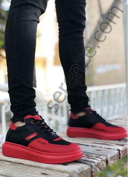 Siyah Kırmızı Zigzag Detay Erkek Spor Ayakkabı