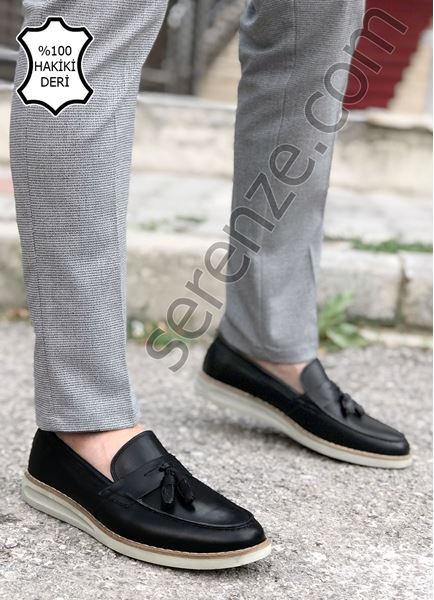 Siyah Hakiki Deri Erkek Klasik Ayakkabı