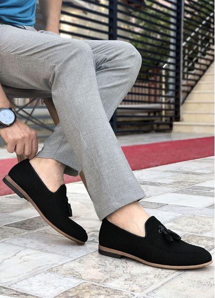 Siyah Örme Triko Erkek Klasik Ayakkabı