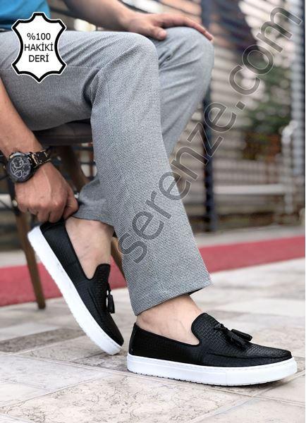 Siyah Püsküllü Hakiki Deri Erkek Klasik Ayakkabı