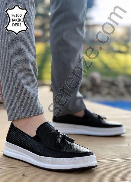 Siyah Püsküllü Piramit Desen Hakiki Deri Erkek Klasik Ayakkabı