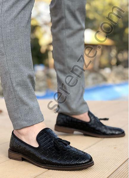 Siyah Rugan Kare Desen Püsküllü Ortopedik Erkek Klasik Ayakkabı