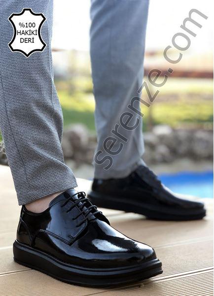 Siyah Rugan Hakiki Deri Bağcıklı Kalın Taban Erkek Klasik Ayakkabı