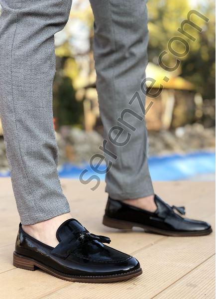 Siyah Rugan Püsküllü Ortopedik Erkek Klasik Ayakkabı