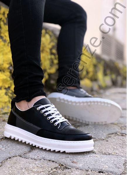 Siyah Tırtıklı Taban Erkek Spor Ayakkabı