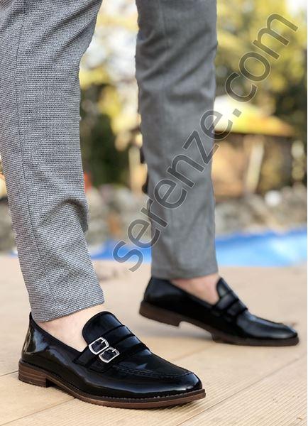 Siyah Rugan Tokalı Ortopedik Erkek Klasik Ayakkabı