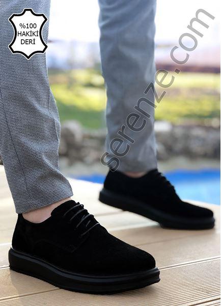 Siyah Süet Hakiki Deri Bağcıklı Kalın Taban Erkek Klasik Ayakkabı