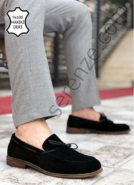 Siyah Süet Hakiki Deri Erkek Klasik Ayakkabı