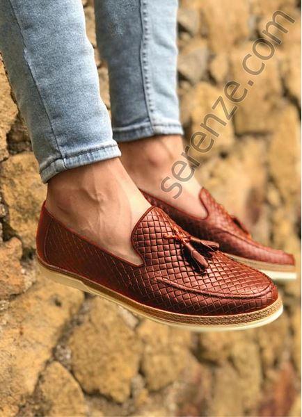 Taba Piramit Desen Hakiki Deri Erkek Klasik Ayakkabı