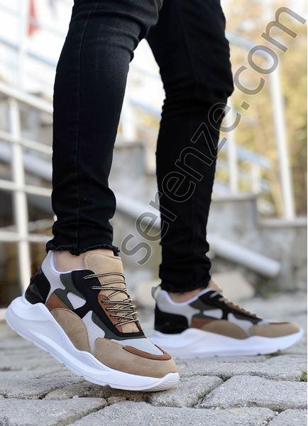 Taba Siyah Karışık Desen Erkek Spor Ayakkabı