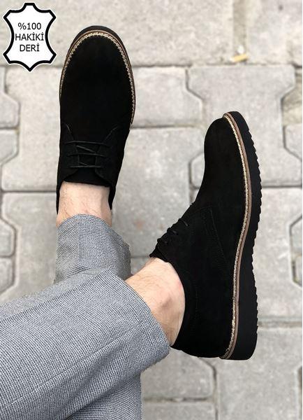 Siyah Süet Hakiki Deri Desenli Erkek Klasik Ayakkabı