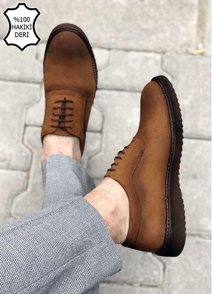 Taba Süet Hakiki Deri Desenli Erkek Klasik Ayakkabı