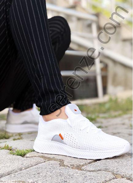 Beyaz Piramit Taban Örme Triko Hafif Erkek Spor Ayakkabı
